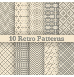 Retro different seamless patterns vector