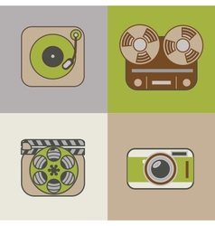 Retro flat arts icon vector
