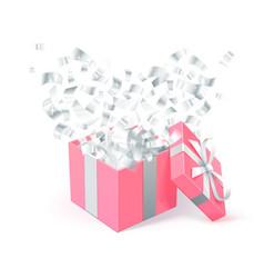Sant valentines day festive design pink gift box vector