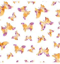 Seamless watercolor butterflies pattern vector