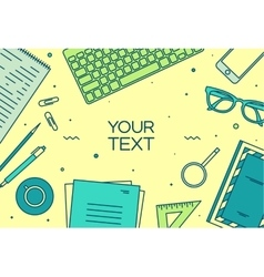 Set linear business office top view of desk vector image vector image