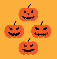 set of halloween pumpkins sign 709 vector image