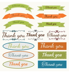 Set of Thank You stickers badges ribbons and tags vector image vector image