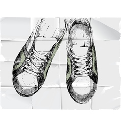 shoose over crumpled paper vector image