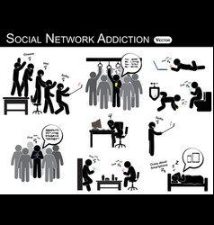 social network addiction vector image
