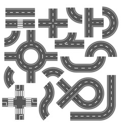 street and road with footpaths and crossroads vector image