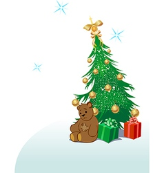 Teddy bear with Christmas tree vector image vector image