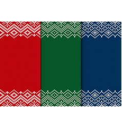 Three semless knitted christmas ornaments red vector