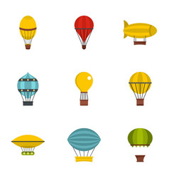 Types of airship icon set flat style vector