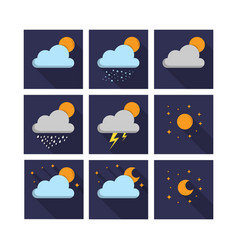 weather night icon set vector image vector image
