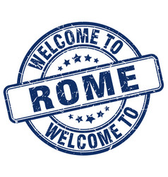 Welcome to rome blue round vintage stamp vector