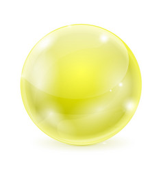 yellow glass ball shiny 3d sphere vector image