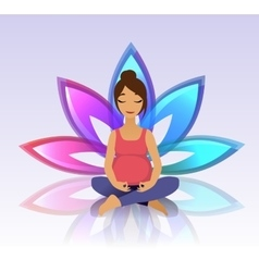 Yoga for pregnant women on lotus background vector image