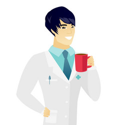Young asian doctor holding cup of coffee vector