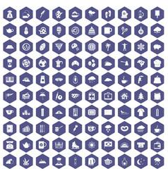 100 coffee cup icons hexagon purple vector