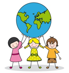 Children holding the globe vector