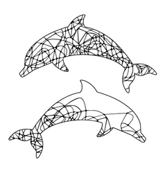 Abstract outline of dolphin vector