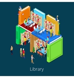 Isometric library building from books with people vector