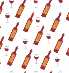 Red wine bottle and glass seamless texture Wine vector image