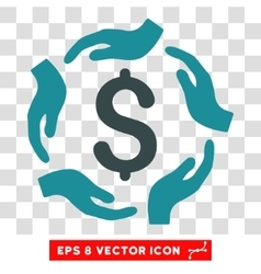 Dollar care hands icon vector