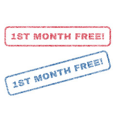 1st month free exclamation textile stamps vector