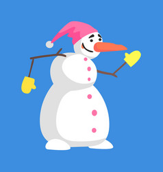 Alive classic three snowball snowman in pink hat vector