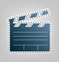 Film clap board cinema sign  blue icon vector