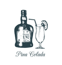 Hand sketched pina colada glass and rum bottle vector