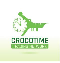 Green crocodile alligator animal icon text vector