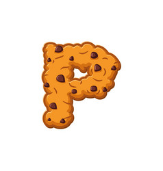 P letter cookies cookie font oatmeal biscuit vector