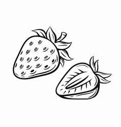 Strawberry black vector