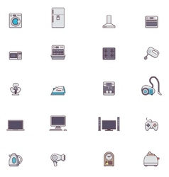 Domestic appliances icon set vector image