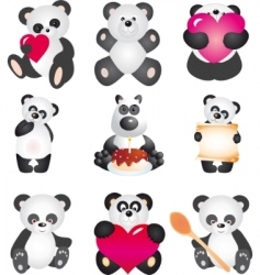 Panda collection vector