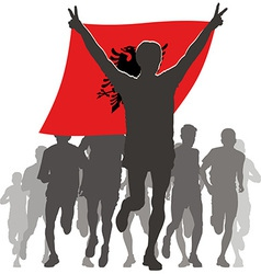 Athlete with the albania flag at the finish vector