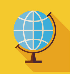 Flat geography world globe with long shadow vector