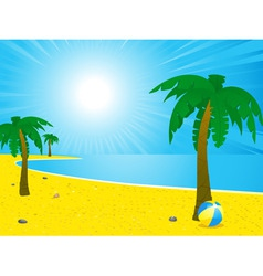 summer beach and palm trees landscape vector image