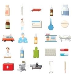 Medicine equipment icons set cartoon style vector