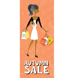 Afroamerican shopping girl character vector