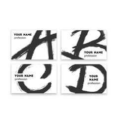 Business cards with abstract black paint smears vector