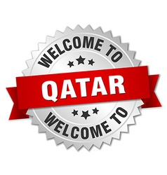 Qatar 3d silver badge with red ribbon vector