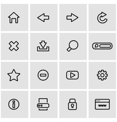 Line browser icon set vector
