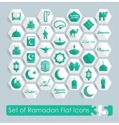 Set of ramadan flat icons vector