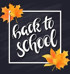 Hand drawn back to school lettering with frame vector