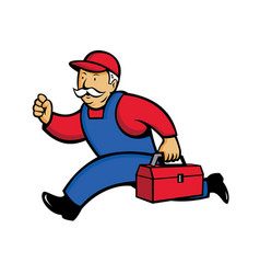 aircon technician running cartoon vector image vector image