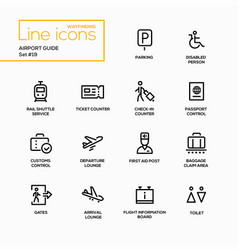 airport guide - modern single line icons vector image vector image
