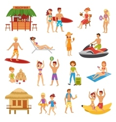 Beach flat set vector image vector image