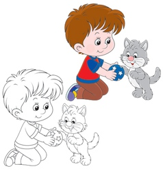 Boy and kitten vector