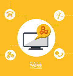 Call center technology gear work cooperation vector