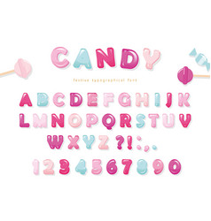 candy glossy font design pastel pink and blue abc vector image vector image