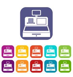 Cash register with cash drawer icons set vector